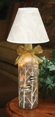 Chickadee Bottle Lamp