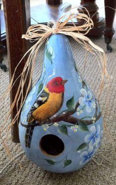 Painted Gourd Birdhouse Absolutely StunningMust by gourdartistIam, $29.95