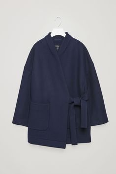 COS image 6 of Wool kimono coat with side tie in Navy