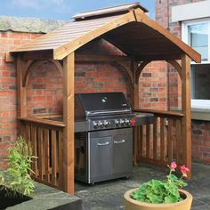 It features an elegant peaked roof with a built-in outlet to allow for the escape of BBQ smoke, whilst the handy side shelves are ideal for holding condiments, crockery or cooking utensils. The pavilion would also be ideal for use with your patio furniture as an attractive garden shelter. | eBay!