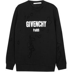 Womens Long-Sleeved Tops Givenchy Black Distressed Cotton Sweatshirt ($1,010) ❤ liked on Polyvore featuring tops, hoodies, sweatshirts, cotton sweatshirt, distressed tops, destroyed sweatshirt, long sleeve sweatshirt and givenchy
