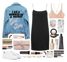 """""""I am a member of a secret girl gang"""" by sophiehackett ❤ liked on Polyvore featuring High Heels Suicide, Chantecaille, adidas, Laura Lee, Stila, Casetify, Boutique, Base Range, MAC Cosmetics and LULUS"""