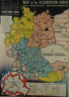 Besatzungazonen Deutschland Und Osterreich karte 1945-1955.