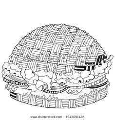 Fast food. Burger in doodle style. Coloring book page for adult and children. Black and white vector fast food pattern.