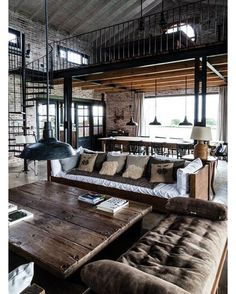 """@homeadore: """"Industrial Residence by Prágmata #pragmata #industrial #livingroom #interior #interiors #interiordesign #design #architecture"""""""