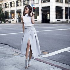 Gray skirt, classic outfit, street style, street fashion