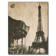 Postcard Art Tony Linck Frau und Auto am Eiffelturm Paris 1947 Kunstkarte