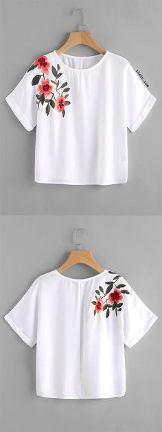 Rolled Cuff Embroidery Crop Tee