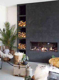 Marrakech Walls op de haart in de kleur Slate Grey Decor, House Design, Fireplace Design, Contemporary Fireplace Designs, Home Decor, House Interior, Edwardian House, Modern Fireplace, Living Room Designs