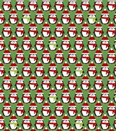 Holiday Inspirations Christmas Fabric- Christmas Penguins Green Fleece from Baum/Windham Fabrics.