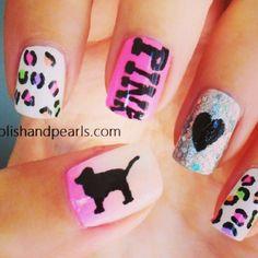 Pink Victoria's Secret nails
