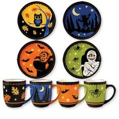 Pfaltzgraff® 8 Piece Halloween Mug and Plate Set  sc 1 st  Pinterest & Spider Tidbit Plates Mixed Set of 4 #potterybarn | Celebrate ...