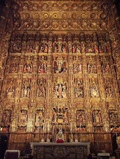 Cathedral of Seville, Spain. The major Retable of the high Altar was considered the greatest altarpiece (covered with gold) of Christianity. The work was carried out over more than 80 years - completion in Sacred Architecture, Church Architecture, Beautiful Architecture, Beautiful Buildings, Architecture Images, Saint Marin, Templer, Church Interior, Fantasy Places