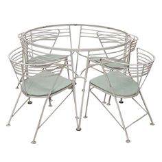 Outdoor Dining Set by Salterini inset glass top with 4 chairs 1950 Made in USA | From a unique collection of antique and modern dining room sets at http://www.1stdibs.com/furniture/tables/dining-room-sets/