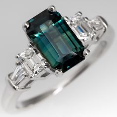Emerald Cut Blue Green Sapphire Engagement Ring w/ Diamonds