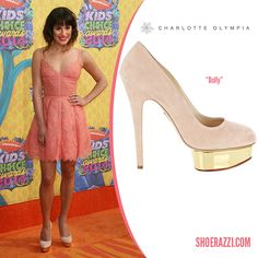 Lea Michele in Elie Saab with Charlotte Olympia Dolly Platform Pumps