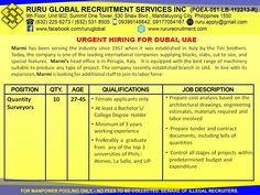 Wanted Quantity Surveyors for Marmi Dubai, UAE hiring  27 to 45 years old Female applicants only At least Bachelor's/College Degree holder Minimum of 3 years working experience Preferably a graduate from any of the top 3 universities of the Phils: Ateneo, La Salle and UP