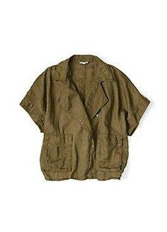 olive green short sleeve jacket in organic linen #eileenfisher