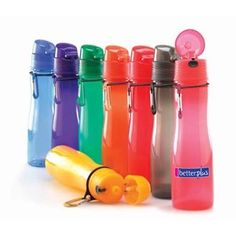 This 20oz sports bottle is biodegradable and fits all standard treadmill cup holders.  The carabiner allows it to fit easily onto any backpack.  AS low as $5.00