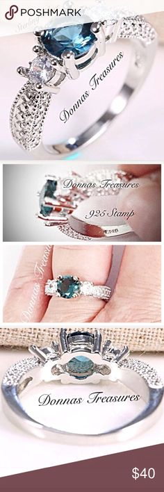 📓.75 Carat Aquamarine Birthstone Friendship Ring This striking ring features an approximate 3/4 carat aquamarine Sapphire flanked by White Sapphires. The setting is Sterling Silver with etching on the sides to give the illusion of additional stones. #0920/3 Jewelry Rings