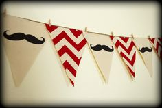 Red Chevron print Mustache Banner  Party by ImSeriouslyJoking, $25.00