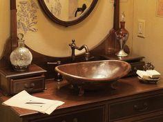 elegant bathroom with copper sink