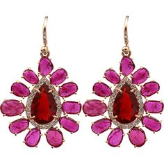 Irene Neuwirth Jewelry Rose Cut Ruby Earrings ($18,080) ❤ liked on Polyvore featuring jewelry, earrings, irene neuwirth jewelry, hook jewelry, pave diamond earrings, 18 karat gold earrings and irene neuwirth