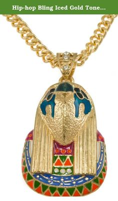 """Hip-hop Bling Iced Gold Tone New Kanye West Egyptian Horus Pendant Necklace Free 24"""" Chain,. Each pendant is crafted from molds of fine jewelry with care and precision to make a bold statement. Pendants are given a dignified heavy look like those worn by Hip Hop Artists & Producers. Genuine embedded Cubic Zircons that glisten like real diamonds! Each pendant is about 1.5"""" X 1.5"""" including the bail includes a complimentary 24"""" inch matching chain. Chains may vary."""