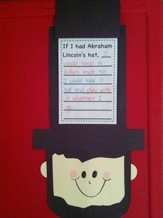 hats, books, abraham lincoln, lincoln craft, lincoln hat, writing prompts, the craft, writing activities, crafts