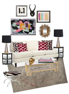 living room mood board via madebygirl. I'd change a few things but the overall look is cute.
