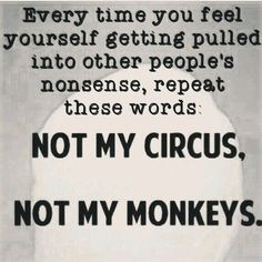 Not my circus, not my monkeys - loving this so much! Great Quotes, Quotes To Live By, Me Quotes, Motivational Quotes, Funny Quotes, Inspirational Quotes, Not My Circus, Thats The Way, True Words