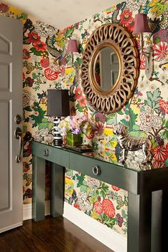 Chiang Mai Dragon in Alabaster wallpaper in  entryway // design by Jane Feldman Designs #wallpaper #dragon