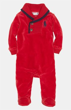 free shipping and returns on ralph lauren velour footie infant at nordstromcom