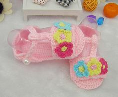 New Style Pink Crocheted Newborn Baby Colorful Flowers Shoes, Infant Baby Soft Soled Lovely Sandals, Infant Baby Cribs