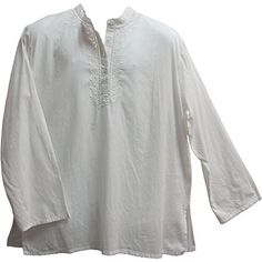 Men's Indian Yoga Mandarin Collar Gauze Cotton Embroidered Tunic Shirt Kurta (Large/XL, White)
