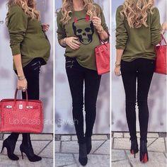 Skull style skinny jeans hermes❤️ pregnant street stylee