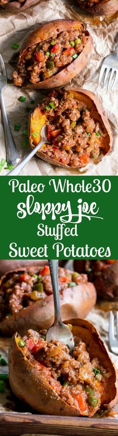 These Paleo sloppy joe stuffed sweet potatoes are classic comfort food made without the junk! The sauce is date sweetened to make it Whole30, and it's quick and easy enough for weeknight dinners. Family approved and makes great leftovers, too!