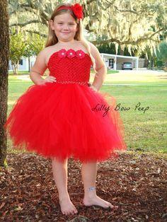 Red Tutu Dress & Flower HeadbandBaby Girl by LillyBowPeep on Etsy, $49.95
