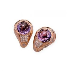 Red Gold Earrings With Diamonds And Amethyst Carat Total Weight(ct): Amethyst, Sapphire, Red Gold, Blue Topaz, Gold Earrings, Class Ring, Heart Ring, Gemstone Rings, Quartz