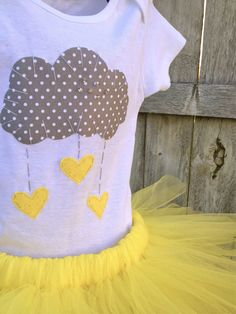 You are my sunshine, you are my sunshine birthday outfit, grey and yellow, yellow and grey, sunshine, girl 1st birthday. $46.95, via Etsy.