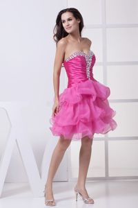 Sweetheart Pink Cocktail Party Dress with Beading and Ruffled Layers