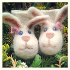 Hand felted bunny booties  These Booties are made with 100% Merino Wool, wet felted by hand and details added by needle felt. $36.33