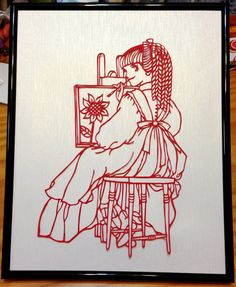 Painting girl  hand cut Papercut on red by PaperIsWonderful