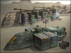 A Prosperity-class container ship offloading at forward resupply point. In the foreground, an Ajax-class military transport is fully loaded and ready to head to the front. Spaceship Art, Spaceship Design, Spaceship Concept, Concept Ships, Concept Art, Star Wars Rpg, Star Wars Ships, Star Trek, Hard Science Fiction