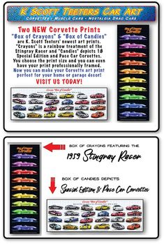 This layout includes Special Edition Corvettes from the Anniversary Corvette to Carbon Edition & Corvette Indy 500 Pace Cars from to Corvette History, Car Prints, Print Box, Drag Cars, Corvettes, Crayons, Candies, New Art, Fine Art America