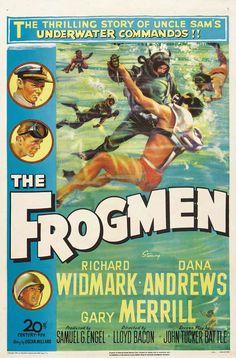 THE FROGMEN (1951) - Richard Widmark - Dana Andrews - Gary Merrill - Directed by Lloyd Bacon - 20th Century-Fox - Movie Poster.