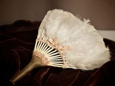 Pink Feather Fan With Hand Sewn Leather Handle Blush.