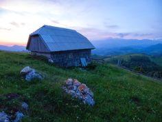 wooden barn at sunrise