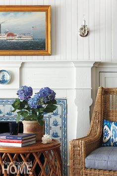 Edgartown (Martha's Vineyard)  home: blue + white, rattan, nautical motif, painted woodwork