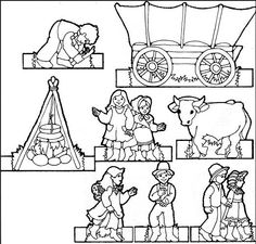 Pioneer Children Paper doll - print on card-stock, let kids color, cut out, fold tabs back and then play!